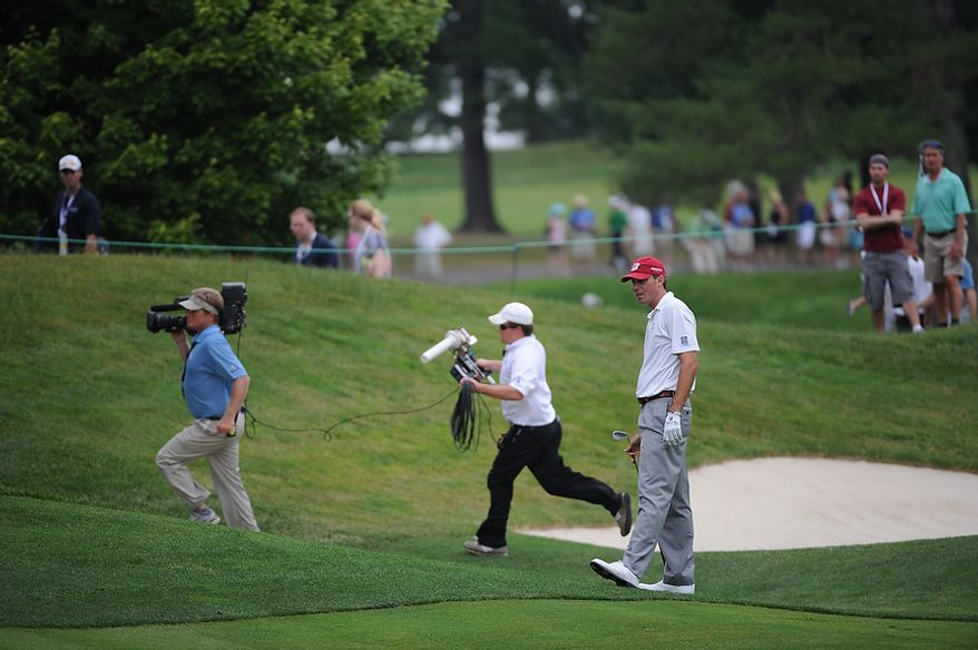 Matt Kuchar, reacts to his approach shot on the third hole during the final round of the U.S. Open at Congressional Country Club in Bethesda, Md., Sunday, June 19, 2011. (Rod Lamkey, Jr./The Washington Times)