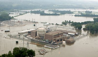 The Fort Calhoun Station nuclear-power plant in Nebraska is surrounded by floodwaters from the Missouri River. Officials said there is no danger of a radiation leak at the plant 19 miles north of Omaha. (Associated Press)