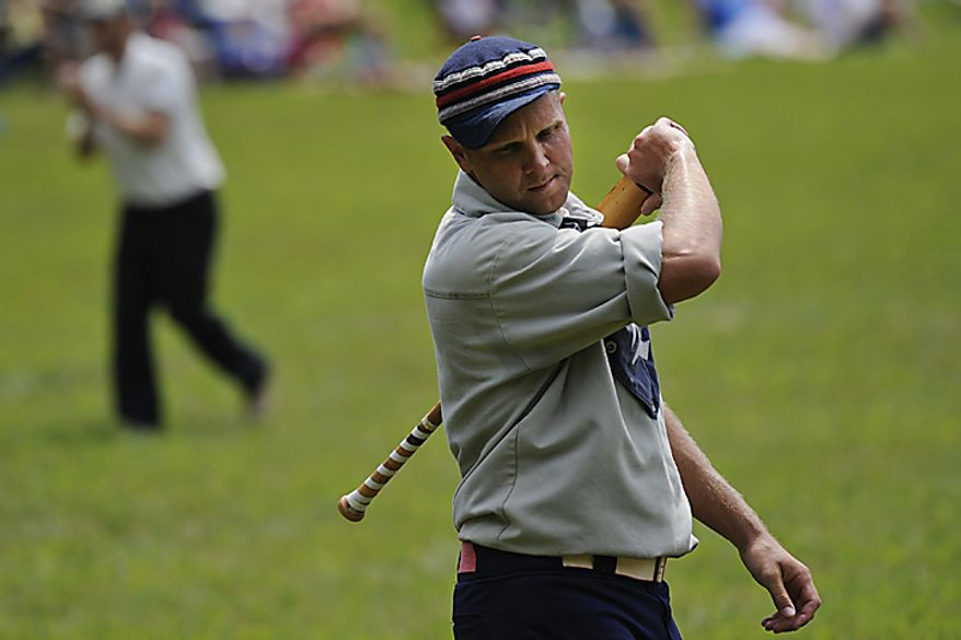 """Elkton Eclipse centerfielder Erik """"Dubs"""" Meyers, of Chesapeake, Md.,  shows frustration after making an out during the Loudoun Preservation Society's 19th Century Baseball Day at the Oatlands, in Leesburg, Va., Sunday, June 12, 2011. While most of the players are laid back and easy going, Meyers was one of the most competitive players on the field.  (Drew Angerer/The Washington Times)"""