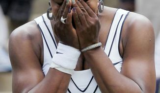 ASSOCIATED PRESS Serena Williams shed tears of joy after defeating Aravane Rezai in her first match in a major tournament since having two foot surgeries and treatment for blood clots.