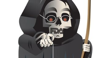 Illustration: FDA and Avastin by Linas Garsys for The Washington Times