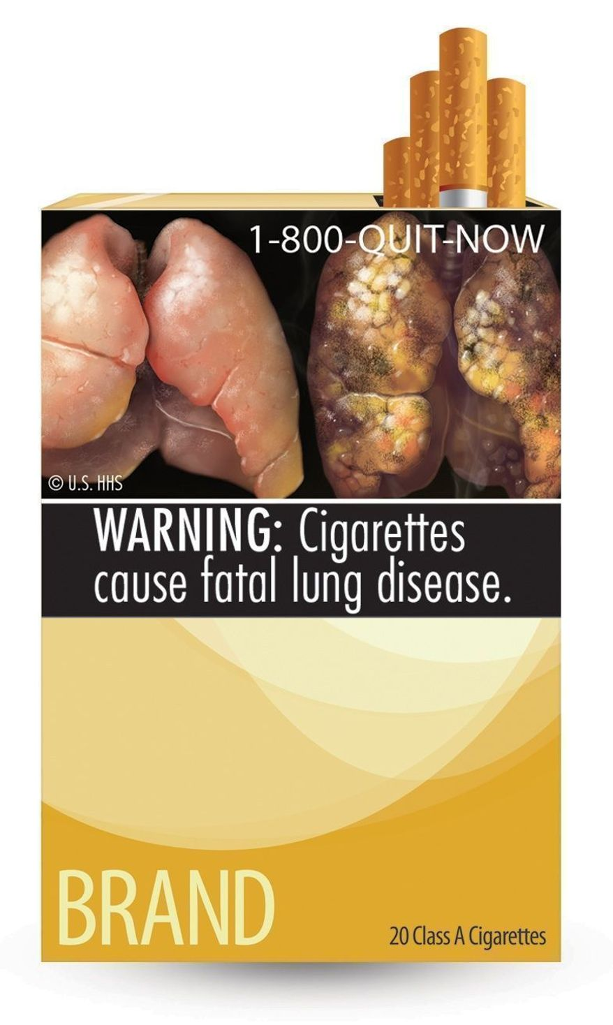 This image provided by the U.S. Food and Drug Administration on Tuesday, June 21, 2011, shows one of nine new warning labels cigarette makers will have to use by the fall of 2012. (AP Photo/U.S. Food and Drug Administration)