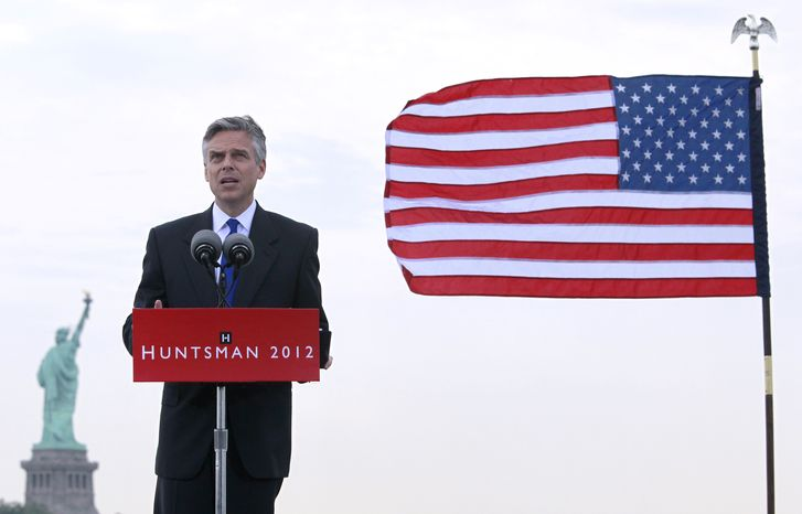 Former Utah Gov. Jon Huntsman Jr. announces his bid for the Republican presidential nomination on Tuesday, June 21, 2011, at Liberty State Park in Jersey City, N.J., with the Statue of Liberty in the background. (AP Photo/Mel Evans)