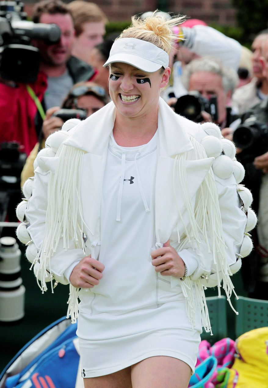 ASSOCIATED PRESS Bethanie Mattek-Sands arrives on court prior to her match Wednesday at Wimbledon against Japan's Misaki Do. The 26-year-old American, known for outrageous outfits, said her latest eye-catching number was inspired by Lady Gaga. After showing it off, she took the court and lost 6-4, 5-7, 7-5.