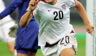 FILE - In this Sept. 22, 2007 file photo, Abby Wambach of the United States, reacts after scoring the first goal against England during their quarterfinal match at the 2007 FIFA Women's World Cup soccer tournament in Tianjin, China. Now 31, Wambach leads the United States into this summer's World Cup _ in Germany. AP Photo/Saurabh Das, File)