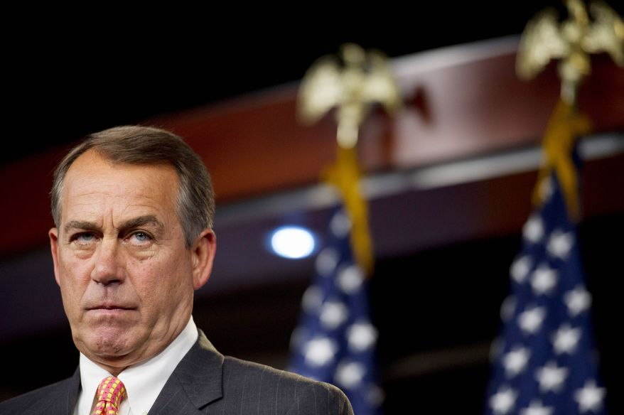 """""""This legislation modernizes our patent system to help create private-sector jobs and keep America on the leading edge of innovation,"""" said House Speaker John A. Boehner, Ohio Republican, as lawmakers voted to align the U.S. patent system closer with those of other countries. (Rod Lamkey Jr./The Washington Times)"""