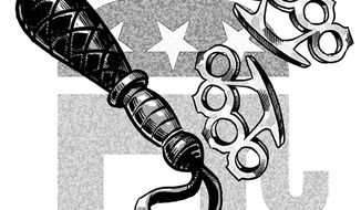 Illustration: GOP fight by Alexander Hunter for The Washington Times