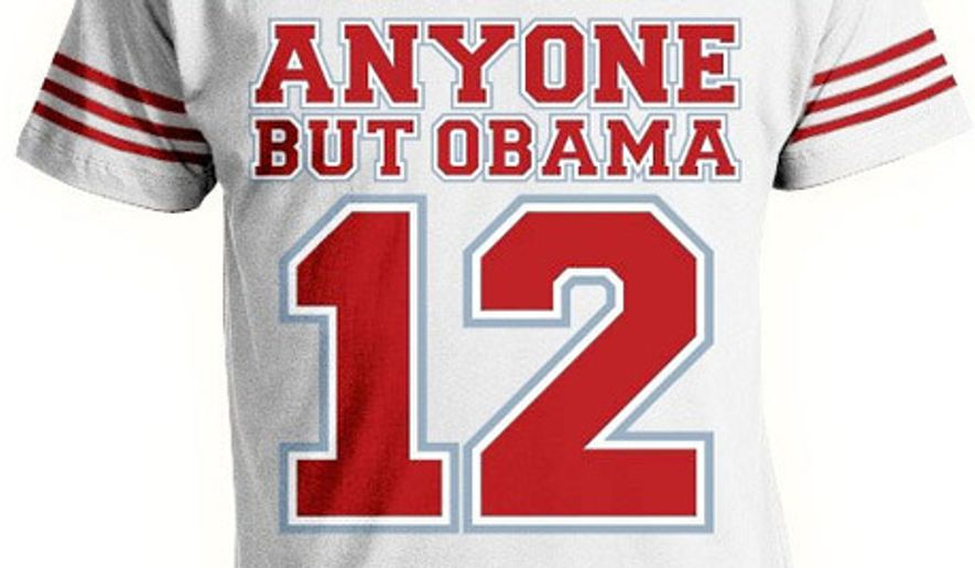 """Anyone but Obama"": A motto for Republicans who just can't pick an electable candidate from the changing field of presidential hopefuls. (Image from Americantees.com)"