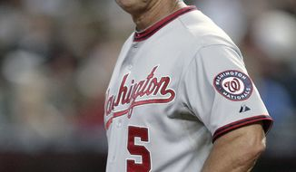 Washington Nationals manager Jim Riggleman resigned Thursday over a contract dispute. (AP Photo/Paul Connors, File)