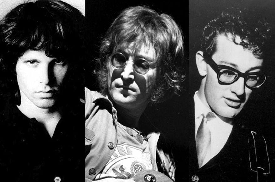 From left; Jim Morrison, John Lennon and Buddy Holly (Photos: Associated Press)