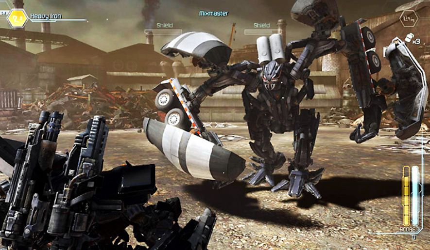 Ironhide battles Mixmaster in the video game Transformers: Dark of the Moon.
