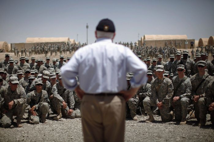 """Defense Secretary Robert M. Gates made his final official visit with troops in Afghanistan this month. """"Getting on that plane was very hard. Leaving them behind and still in the fight,"""" he said Sunday. """"They're so dedicated and so confident, and they're so capable. They're just extraordinary people."""" (Associated Press)"""