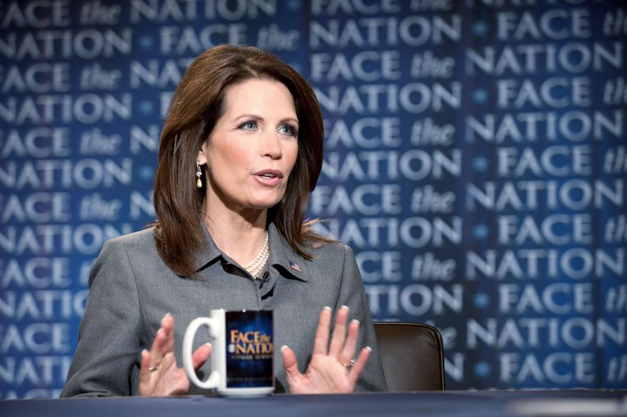 "ON MESSAGE: Rep. Michele Bachmann, Minnesota Republican, is ""a long shot"" to be the GOP nominee but ""is certainly articulating a clear and powerful set of views,"" fundraiser Fred Malek said. (CBS News via Associated Press)"