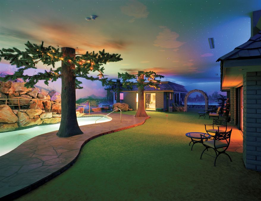 Robert Polidori via Associated Press Jay Swayze's design for Girard Henderson's Las Vegas bomb shelter featured a backyard with fake greenery, a barbecue camouflaged in a fake boulder, swimming pool and patio area. Murals were painted on the interior of the home's protective concrete shell. Lighting could be adjusted to create day or night.