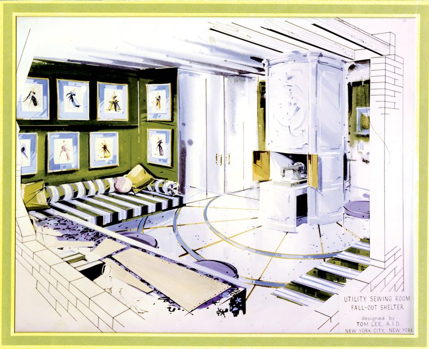 National Archives via Associated Press In New York City, Tom Lee's design for a fallout shelter's utility sewing room shows a craft room with elegant black-and-white-striped banquettes that could be converted into beds in the event of a disaster.