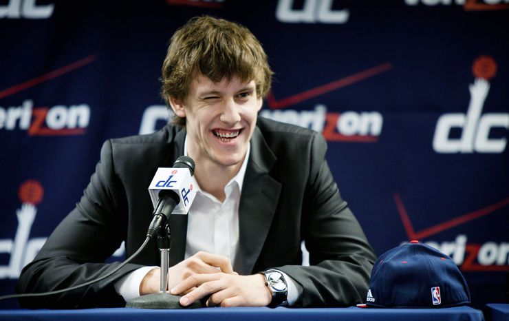 """Jan Vesely showed his humorous side when asked at a news conference if he was the European Blake Griffin. """"Yeah, I think so,"""" he said of being compared to the Los Angeles Clippers' All-Star dunk specialist. (Pratik Shah/The Washington Times)"""