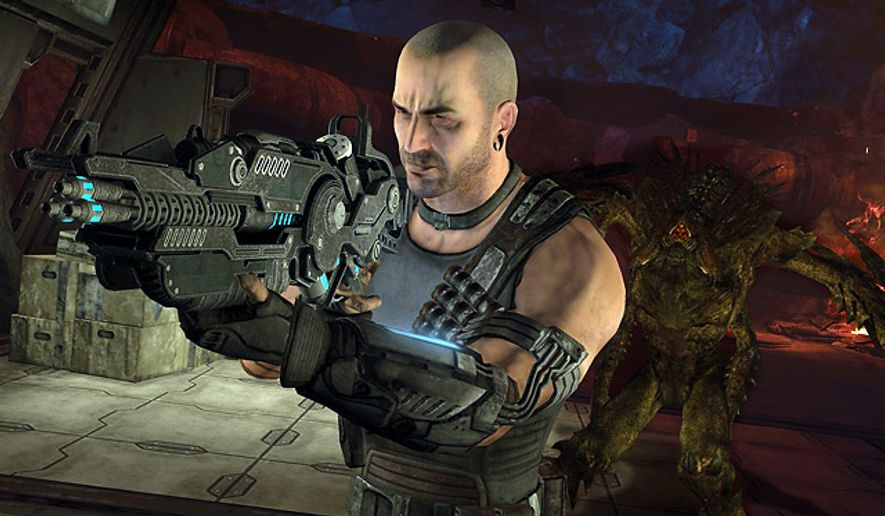 Darius Mason has lots of powerful weapons to battle some of Mars's indigenous species in the video game Red Faction: Armageddon.