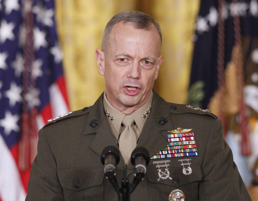 ** FILE ** U.S. Marine Corps Lt. Gen. John R. Allen speaks in the East Room of the White House in Washington on Thursday, April 28, 2011.  (AP Photo/Charles Dharapak, File)