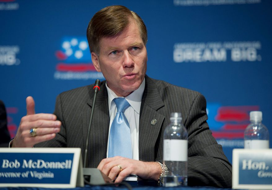 BARBARA L. SALISBURY/THE WASHINGTON TIMES Virginia Gov.  Bob McDonnell received a favorable rating on his job performance after 16 months in office. A poll determined that 55 percent of the respondents like what he is doing, compared with 26 percent  who don't.