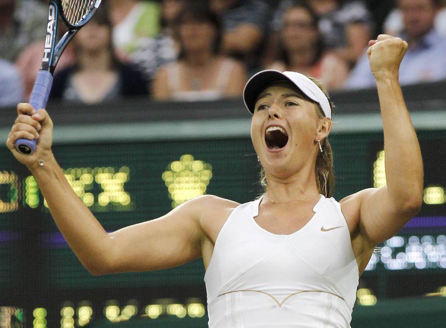 Russia's Maria Sharapova celebrates defeating Slovakia's Dominika Cibulkova in their match at the All England Lawn Tennis Championships at Wimbledon, Tuesday, June 28, 2011. (AP Photo/Anja Niedringhaus)