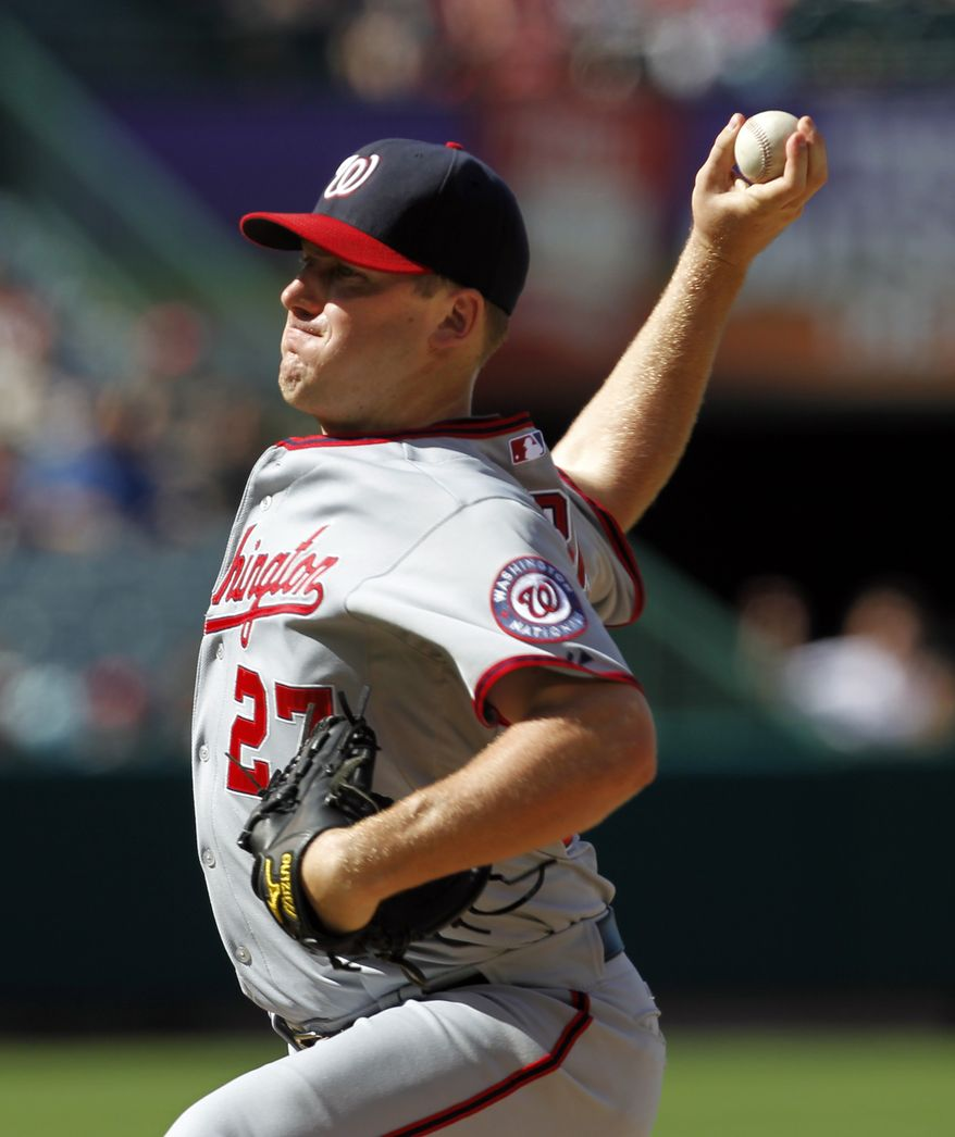 Washington Nationals pitcher Jordan Zimmermann tossed his first complete game in the 1-0 loss to the Los Angeles Angels of Anaheim on Wednesday, giving up an unearned run on four hits and striking out four in eight innings. (AP Photo/Christine Cotter)