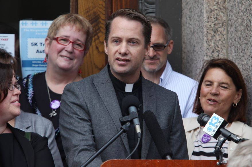 **FILE** The Rev. Michael Gray, a United Methodist pastor in Old Orchard Beach, Maine, speaks June 30, 2011, at a news conference in Lewiston, Maine, where it was announced that gay-marriage supporters are laying the groundwork for another referendum on same-sex marriage in the state. (Associated Press)