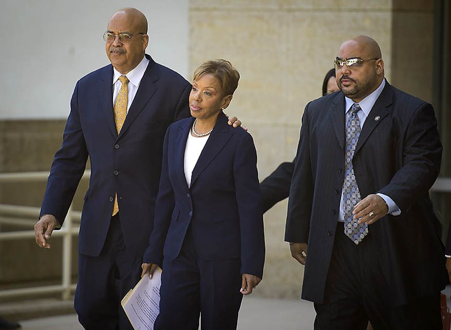 Prince George's County Council member Leslie Johnson, wife of former County Executive Jack B. Johnson, leaves the U.S. District Courthouse in Greenbelt, Md., on June 30, 2011, after pleading guilty to corruption charges. (Rod Lamkey Jr./The Washington Times)