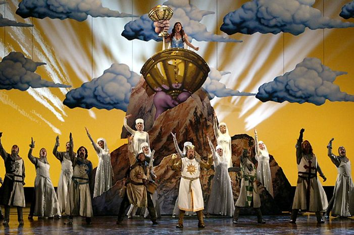 """Cast members from the Broadway musical """"Monty Python's Spamalot"""" perform at the 2005 Tony Awards at Radio City Music Hall in New York on Sunday, June 5, 2005. The show won the award for best musical. (Associated Press)"""