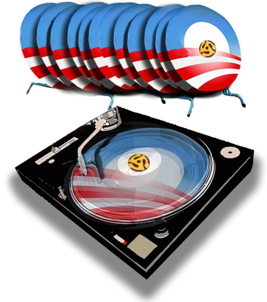 Illustration: Obama's record by John Camejo for The Washington Times