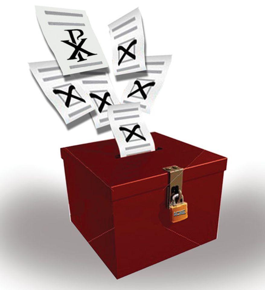Illustration: Catholic vote by John Camejo for The Washington Times