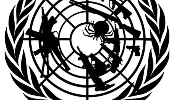 Illustration: U.N. gun grabbing by Alexander Hunter for The Washington Times