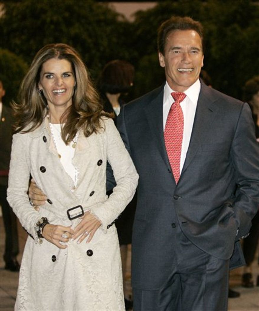 FILE - In this Nov. 8, 2006 file photo, California Gov. Arnold Schwarzenegger arrives in Mexico City, Mexico, with his wife Maria Shriver. Maria Shriver has filed for divorce from Arnold Schwarzenegger in Los Angeles Superior Court, Friday, July 1, 2011. (AP Photo/Marcio Jose Sanchez, file)