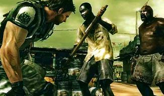 Chris Redfield has his hands full in the portable video game Resident Evil: The Mercenaries 3D.