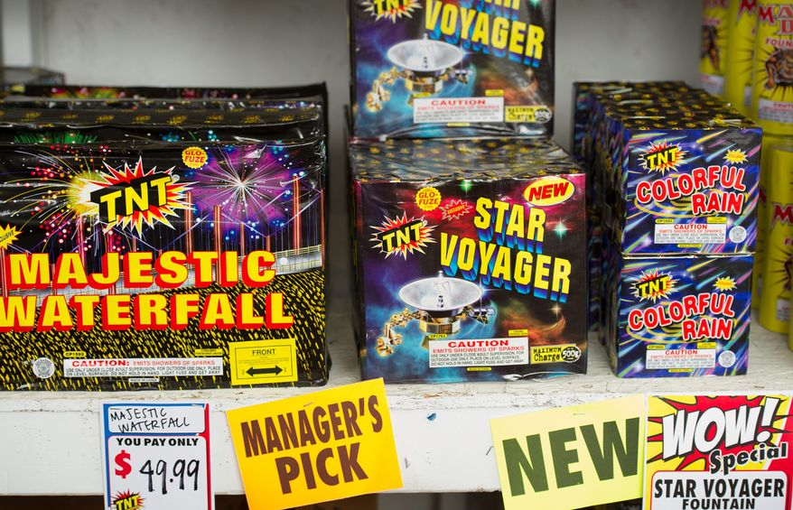 Majestic Waterfall, Star Voyager and Colorful Rain are some of the fireworks for sale at the TNT stand. Virginia, Maryland and the District allow handheld, ground-based sparkling devices, but not aerials.