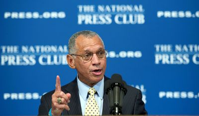 "BARBARA L. SALISBURY/THE WASHINGTON TIMES NASA Administrator Charles F. Bolden downplayed fears that this week's final space shuttle launch marks the end of American dominance in space during a speech Friday at the National Press Club. ""We are not ending human space flight,"" he said. ""We are recommitting ourselves to it."""