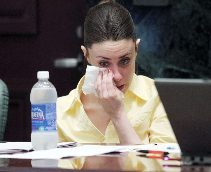ASSOCIATED PRESS Casey Anthony cries Sunday while prosecutors present their closing arguments during her murder trial in Orlando, Fla. Miss Anthony has pleaded not guilty to the first-degree murder of her 2-year-old daughter, Caylee. She could face a death sentence or life in prison if convicted of that charge.