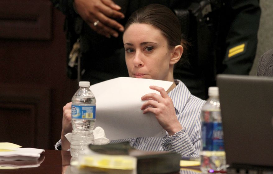 Casey Anthony goes over paperwork during a break on the final day of arguments in her murder trial at the Orange County Courthouse in Orlando, Fla., on Monday, July 4, 2011. (AP Photo/Red Huber, Pool)