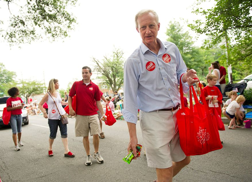 D.C. Council member Jack Evans prepares to throw candy to spectators during the 45th annual Palisades July Fourth parade in Washington. The parade has become a local tradition, and council members usually attend, often handing out candy, stickers and other freebies. (Barbara L. Salisbury/The Washington Times)