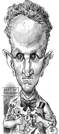 Illustration: Treasury Secretary Timothy F. Geithner by Alexander Hunter for The Washington Times