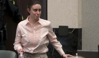 Casey Anthony smiles as she returns to the defense table after being acquitted of murder charges at the Orange County Courthouse in Orlando, Fla., Tuesday, July 5, 2011. She had been charged with killing her daughter Caylee. (AP Photo/Red Huber, Pool)