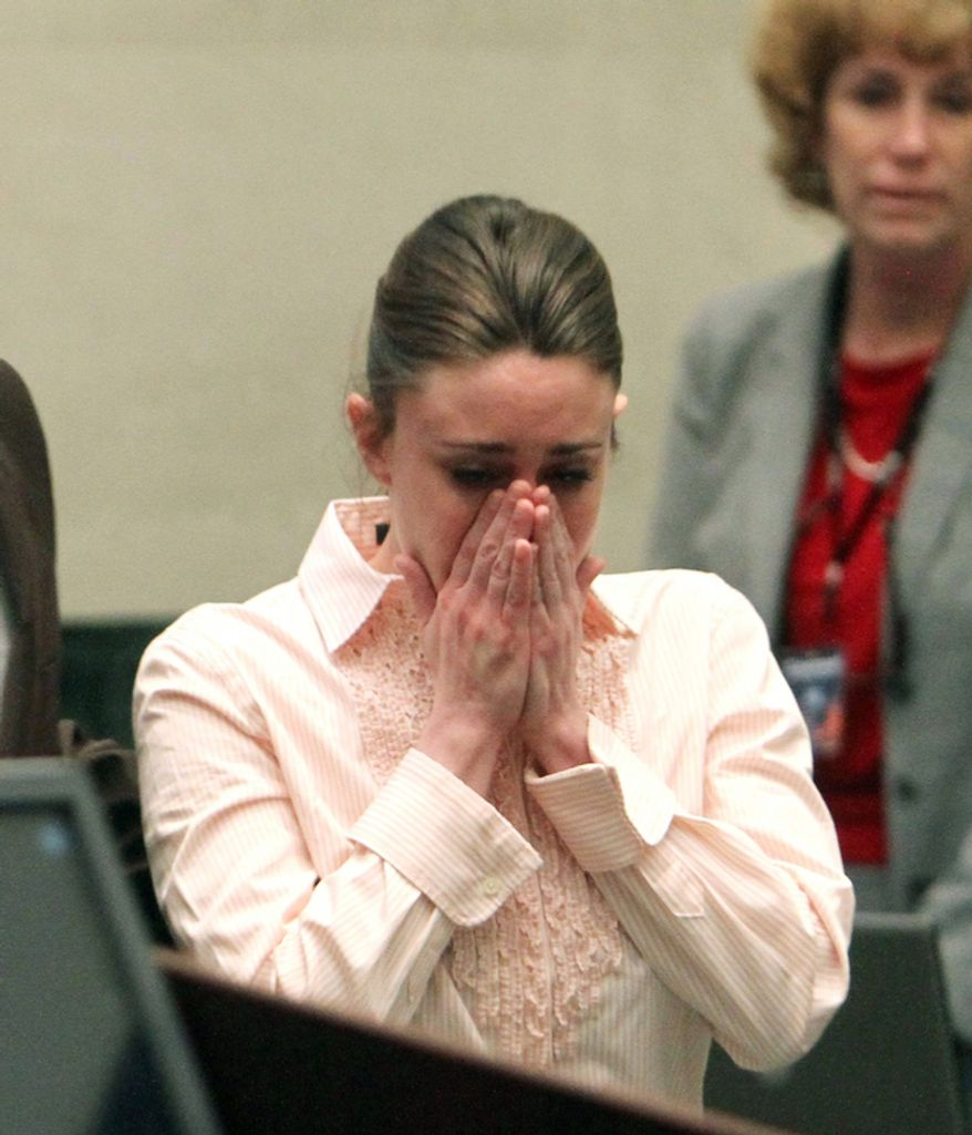 Casey Anthony reacts after the jury acquitted her of murdering her daughter, Caylee, during Anthony's murder trial at the Orange County Courthouse. (AP Photo/Red Huber, Pool)