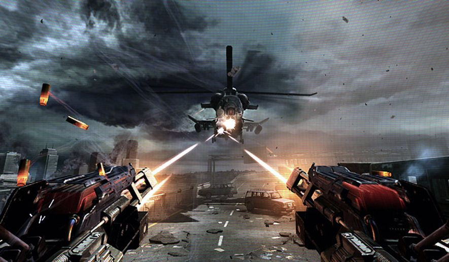 Point Man often has guns blazing in the video game F.E.A.R. 3.