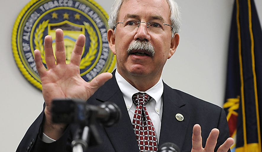 **FILE** Kenneth E. Melson, acting director of the Bureau of Alcohol, Tobacco, Firearms and Explosives (ATF), speaks at a news conference in Houston in April 2009. (Associated Press)