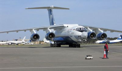 A Russian-built Ilyushin-76 cargo plane of Silk Way Airlines, similar to the aircraft shown here, crashed into a mountaintop in eastern Afghanistan on Wednesday, July 6, 2011, officials said. The nine crew members on board are feared dead. (AP Photo/www.silkway-airlines.com)