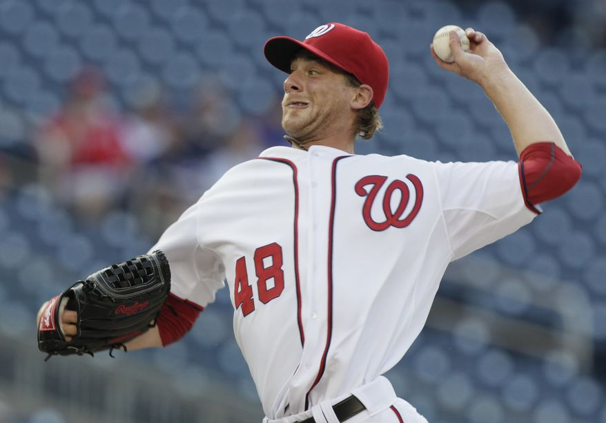 Washington Nationals starting pitcher Ross Detwiler tossed 5 1/3 innings Tuesday night in the Nats' 3-2 win over the Chicago Cubs, allowing two runs on four hits. (AP Photo/Carolyn Kaster)