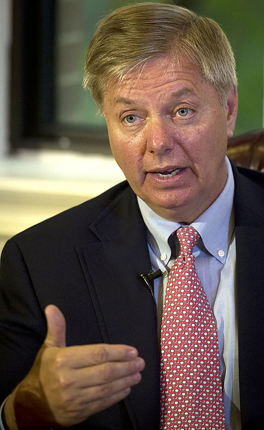 Sen. Lindsey Graham, South Carolina Republican, responds to questions and offers remarks during an interview in Washington, D.C., Wednesday, July 6, 2011. (Rod Lamkey Jr./The Washington Times)
