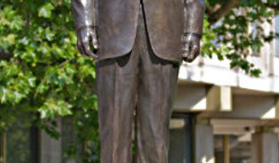 A 10-foot bronze statue of Ronald Reagan unveiled July 4 in London as a 2012 Republican presidential candidate? One headline would have it so. (Image courtesy of the U.S. Embassy, London)