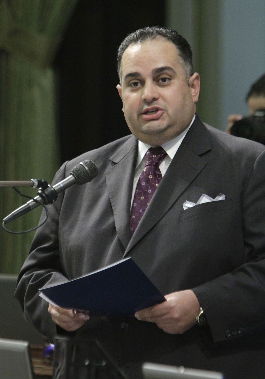 California Assembly Speaker John Perez, the body's first openly gay leader, urges lawmakers to approve a measure requiring public schools to teach the historical contributions of gay Americans, on Tuesday, July 5, 2011, in Sacramento. (AP Photo/Rich Pedroncelli)
