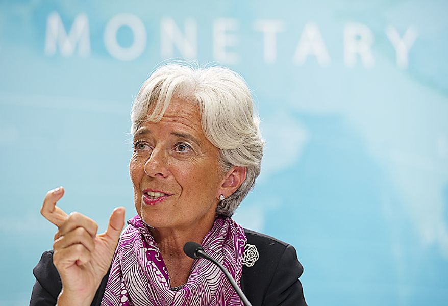 Christine Lagarde, the new head of the IMF, holds a press conference on July 6, 2011, at the International Monetary Fund headquarters in Washington. (Barbara L. Salisbury/The Washington Times)