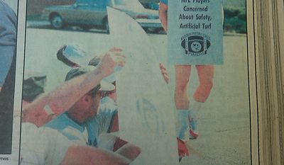 Former Redskins quarterback Jay Schroeder picketing--in color--in Sept. 1987.